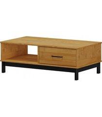 mesa de centro 1 gaveta finestra linha madri cor carvalho/ preto