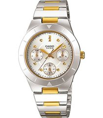 reloj casio dama elegante ltp-2083sg-7a color plateado