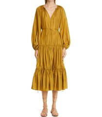 women's zimmermann estelle long sleeve tiered silk midi dress, size 2 - green