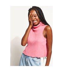 regata feminina canelada gola alta rosa