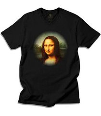camiseta gola v arte e cultura cool tees da vinci mona lisa - masculino