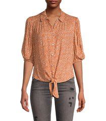 celia printed tie-front blouse