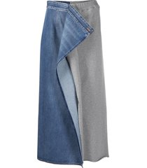 mm6 maison margiela hybrid straight skirt - blue