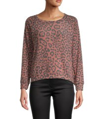 prince peter collection women's animal-print raglan sweatshirt - burnt red - size l