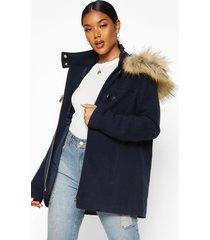 faux fur wool look duffle coat, navy
