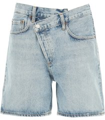 agolde criss cross denim shorts