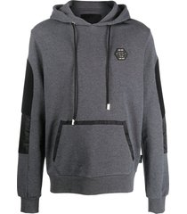 philipp plein ribbed arm panel cotton hoodie - grey