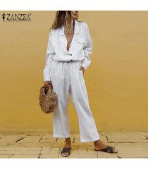 zanzea las mujeres de manga corta gira el collar abajo mono catsuit tops túnica romper informal -blanco