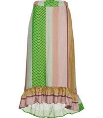 skirt in stroke print knälång kjol multi/mönstrad coster copenhagen