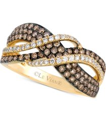 le vian chocolatier gladiator weave diamond statement ring (7/8 ct. t.w.) in 14k gold
