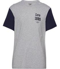 color block seasonal t-shirts short-sleeved grå lee jeans