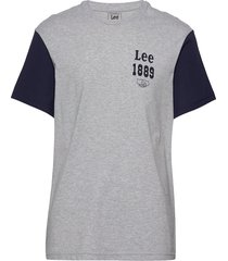 color block seasonal t-shirts short-sleeved grå lee jeans