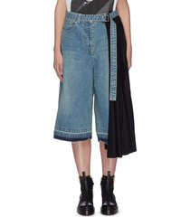 contrast pleated side denim culotte pants