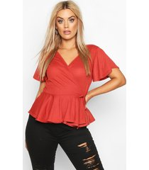 plus rib wrap cap sleeve peplum top, terracotta