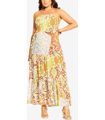 city chic plus size strapless saffron maxi dress