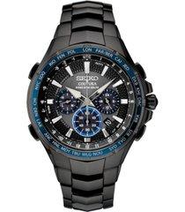 seiko men's radio sync solar chronograph coutura black stainless steel bracelet watch 44.5mm