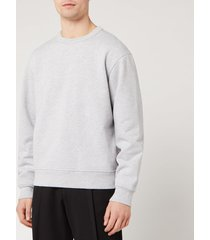 acne studios men's fate pink label sweatshirt - pale grey melange - xl