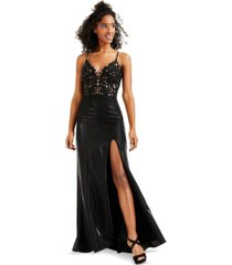 betsy & adam lace-top glitter gown