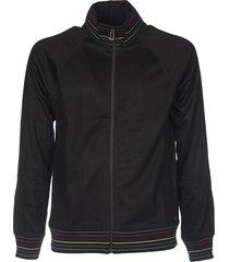 black sweatshirt with multicolor branded edges