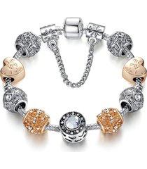 pulsera mujer dijes corazon flor cristal murano dorado 3496