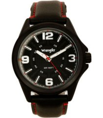 wrangler men's watch, 48mm ip black case with cutout black dial, white arabic numerals, black strap with red stitching, analog, red second hand
