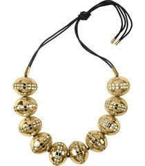 goldss cage round necklace, women's, josie natori