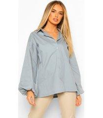 geplooide poplin blouse met extreme pofmouwen, petrol