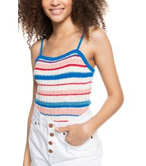 roxy stripe sweater tank, size x-small in poppy red candy stripes at nordstrom