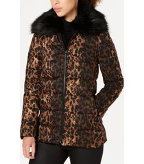 tahari leopard-print puffer coat with faux-fur-collar