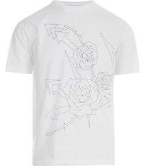 crew neck t-shirt w/roses printing