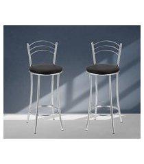 banquetas acabamento cromado assentos pretos lilies móveis