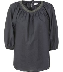 brunello cucinelli beaded neckline top