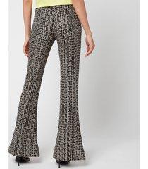 balmain women's low rise monogram bootcut pants - ivoire/noir - fr 36/uk 8