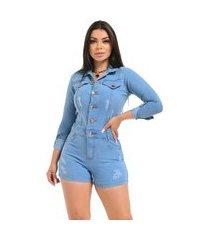 macaquinho jeans curto macacão short - ewf jeans - manga longa - azul claro