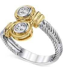 14k two-tone gold diamond twist ring (1/3 ct. t.w.)