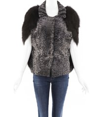 marni persian lamb fox fur cape brown/gray sz: s