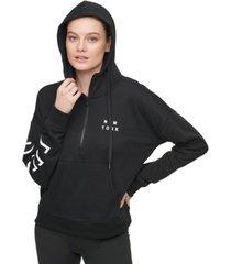 dkny sport cotton logo half-zip hoodie