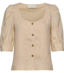 sim top blouses short-sleeved beige fall winter spring summer