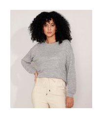 suéter de tricô amplo decote redondo cinza mescla claro