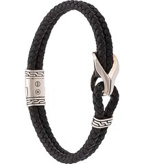 john hardy silver classic chain woven leather bracelet with station -