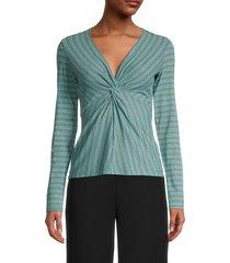 bailey 44 women's ava stripe twist-front top - gulf streak - size l
