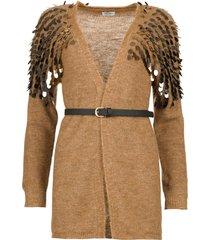 vest met pailletten scotte  bruin