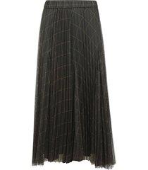 brunello cucinelli pleated check skirt