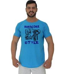 camiseta longline alto conceito hardcore style azul piscina - azul - masculino - algodã£o - dafiti