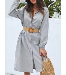 zanzea botón diseño cuello vuelto manga larga vestido