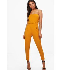 getailleerde geweven strapless slim fit jumpsuit, oker