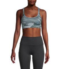 splendid women's como print sports bra - olive camo - size xs