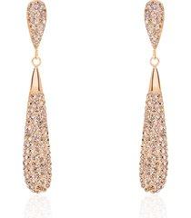 orecchini pendenti in acciaio rosato forma goccia allungata con strass per donna