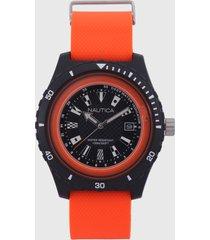 reloj negro-naranja nautica
