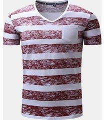 t-shirt in cotone casual a manica corta con scollo a v stampata estiva da uomo